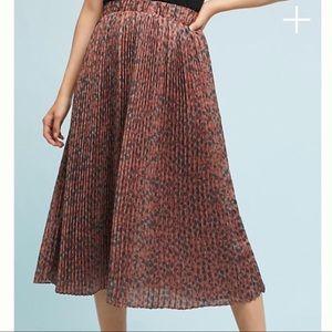 Anthropologie Pleated Leopard Skirt